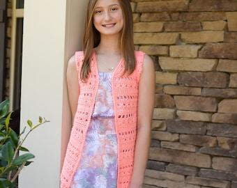 Children's Crochet Vest Crochet Pattern, Flowers & Showers Vest, Instant Download