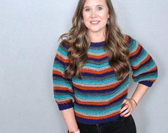 Vintage Striped Crochet Sweater Pattern, Vinnie Sweater, Instant Download