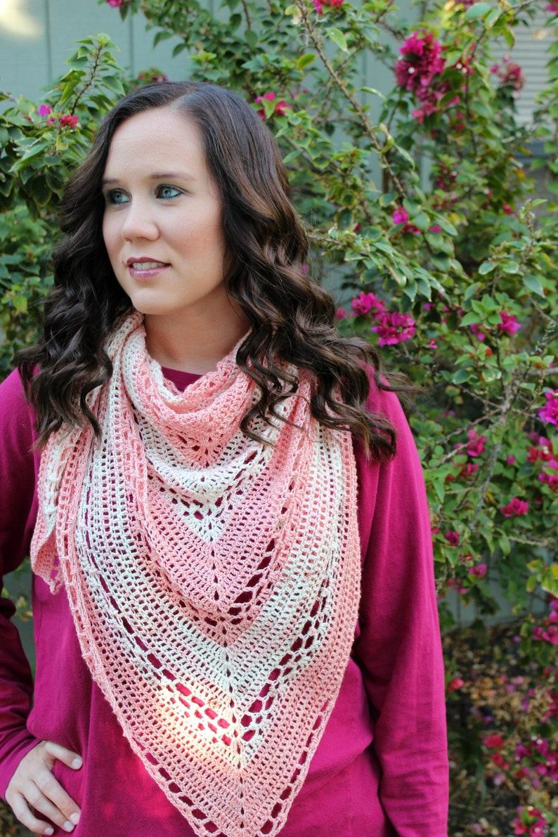 Triangle Shawl Crochet Pattern Crochet Shawl Cherry Blossom image 0