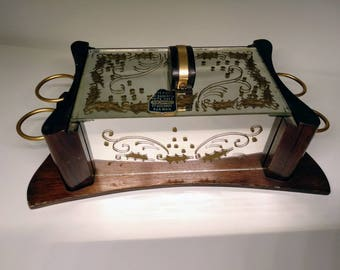 Box in dark wood and mirror with gold ornaments, decorated by hand, L'ARTISANAT FRANCAIS, VINTAGE, 50's