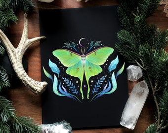 Luna Moth- hand signed Art Print on textured high quality paper -Witch Art