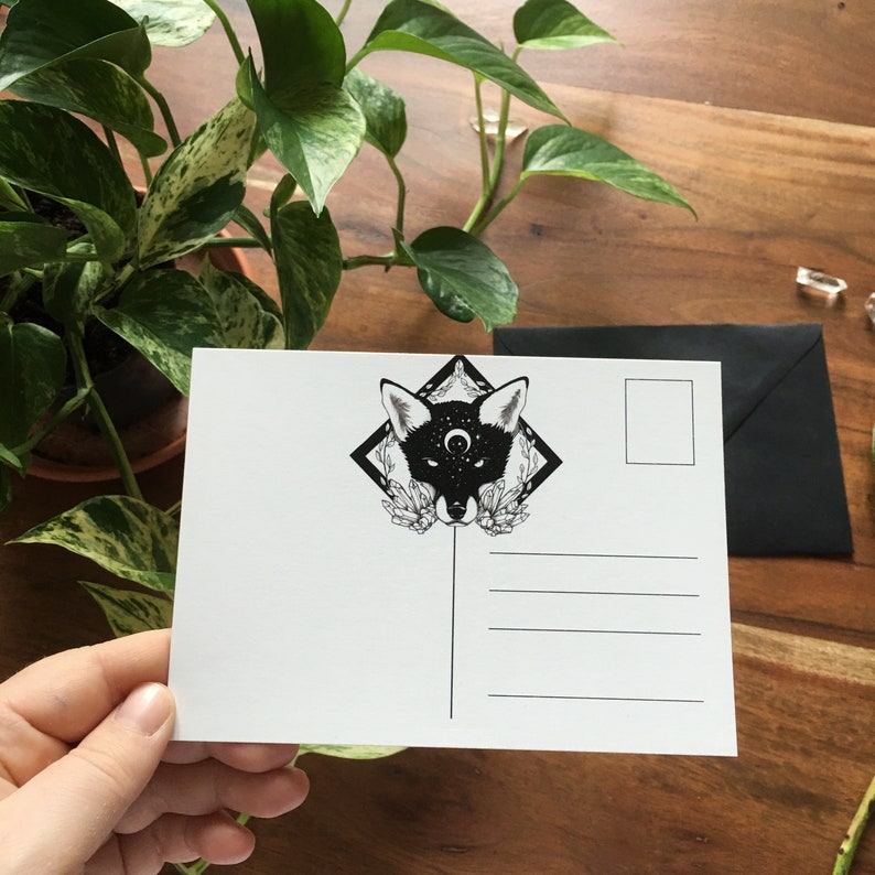 Moon Child fox postcard black envelope Set
