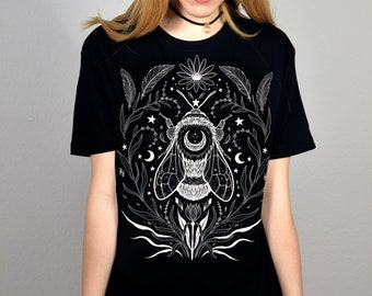 Fairtrade Unisex black witch Shirt -Magical Bee- Pixie clothing