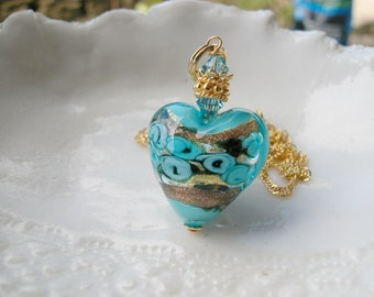 Aqua Murano Glass Heart Necklace