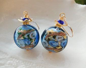 Blue Venetian Murano Lentil Glass Earrings