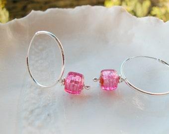 Murano Pink Glass & Sterling Silver Hoop Earrings