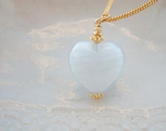 White Heart Necklace In Murano Glass