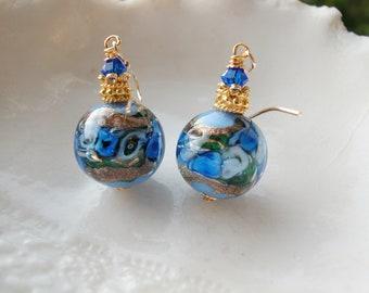 Blue Venetian Murano Round Glass Earrings