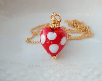 Red Murano Polka Dot Glass Necklace