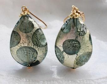 Large Murano Glass Teardrop Earrings