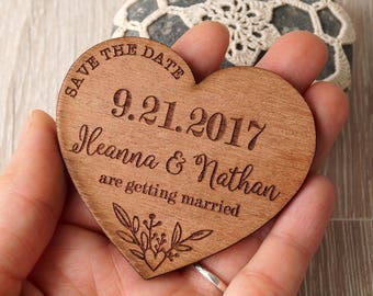 Save the dates, wedding save the date magnet, hearts save the date, wooden save the dates, wedding magnets, rustic save the dates, set of 25