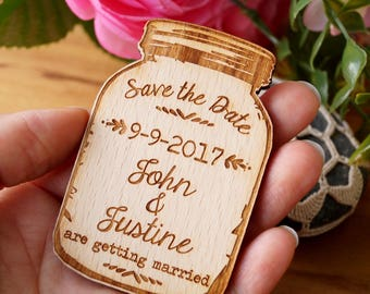 Save the date, save the date magnet, wedding save the dates, mason jar save the date, rustic wooden save the date magnets, wedding magnets