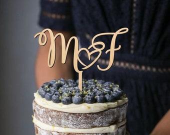 Cake topper for wedding, custom cake topper, initial letters cake topper, heart cake topper, wedding cake topper, gold, silver cake topper