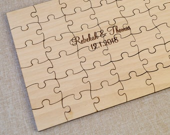 Wedding Guest Book Puzzle, Guest Book Alternative, Personalized Puzzle, Sign in Puzzle, Wooden Puzzle for Wedding