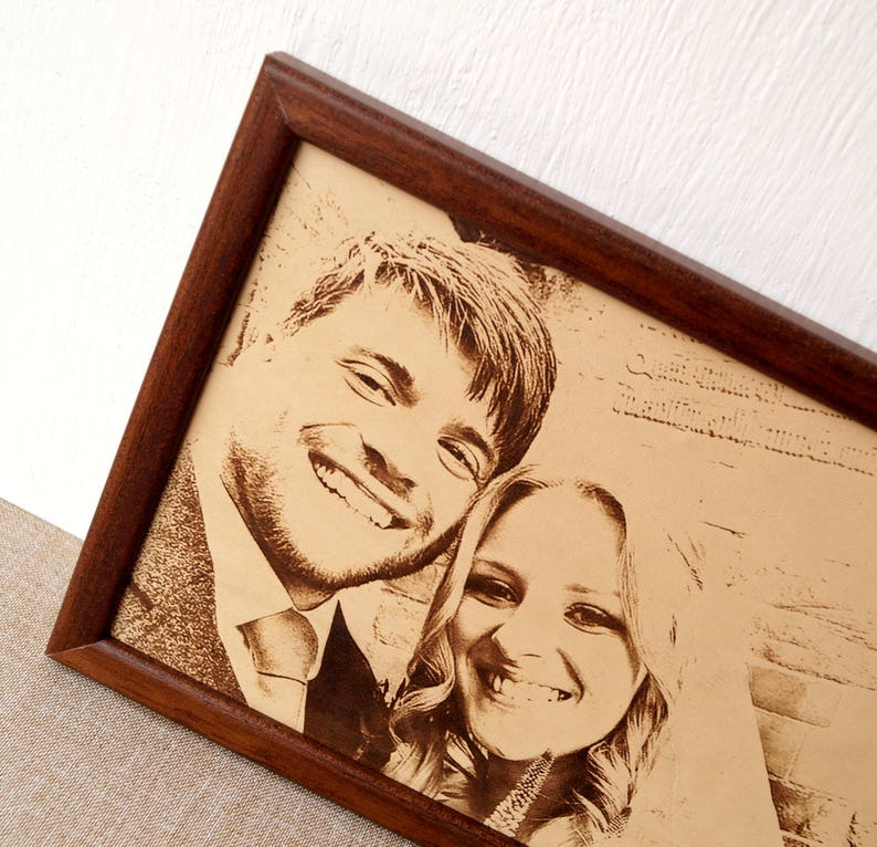 3rd Wedding Anniversary Gift.3rd Wedding Anniversary Gift Idea Custom Engraved Framed Picture Leather Engraving Unique Gift Engraved Photograph On Real Leather