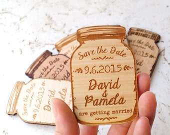 Mason Jar Save The Date Magnet, Save The Date Magnet, Personalized Save The Date, Wedding Invitation.Rustic Magnet.Wood magnet