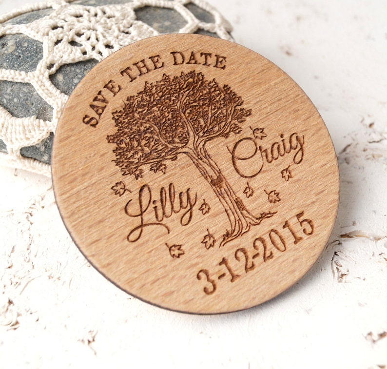 wedding save the date wooden save the date magnets Save the Date magnet personalized laser engraved round wood save the dates set of 25