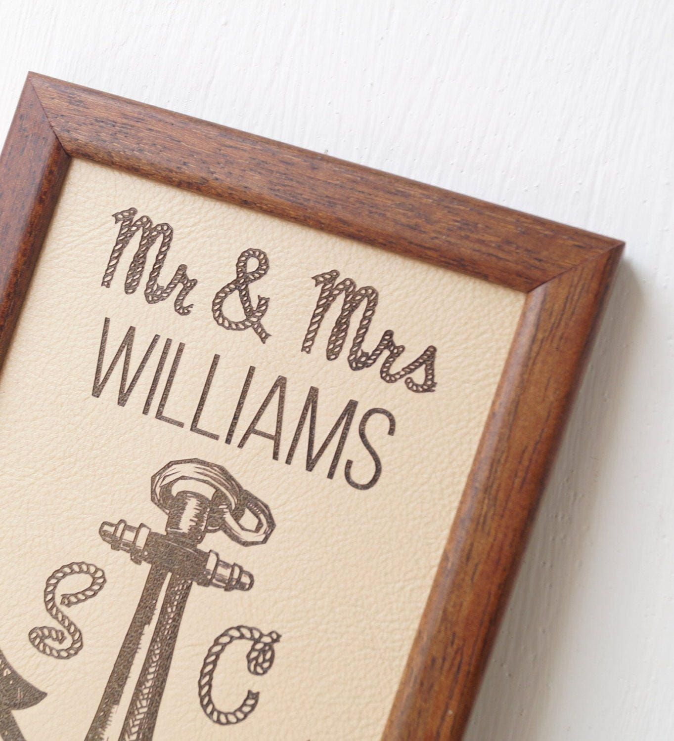 3 Wedding Anniversary Gift: 3rd Wedding Anniversary Gift Leather Wedding Sign Engraved