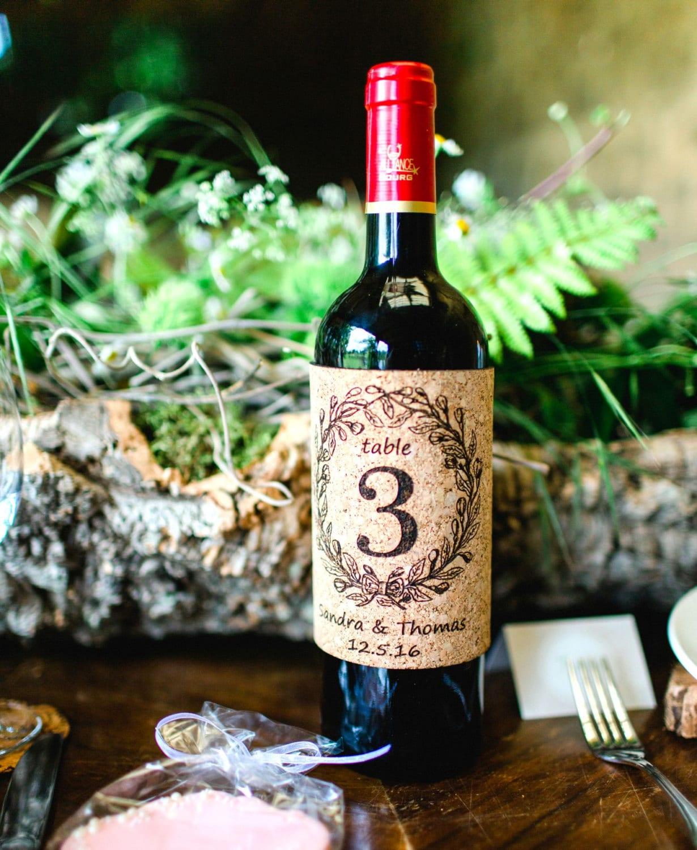 Wine Cork Table Numbers: Cork Table Numbers Wine Label Design Personalized Wedding