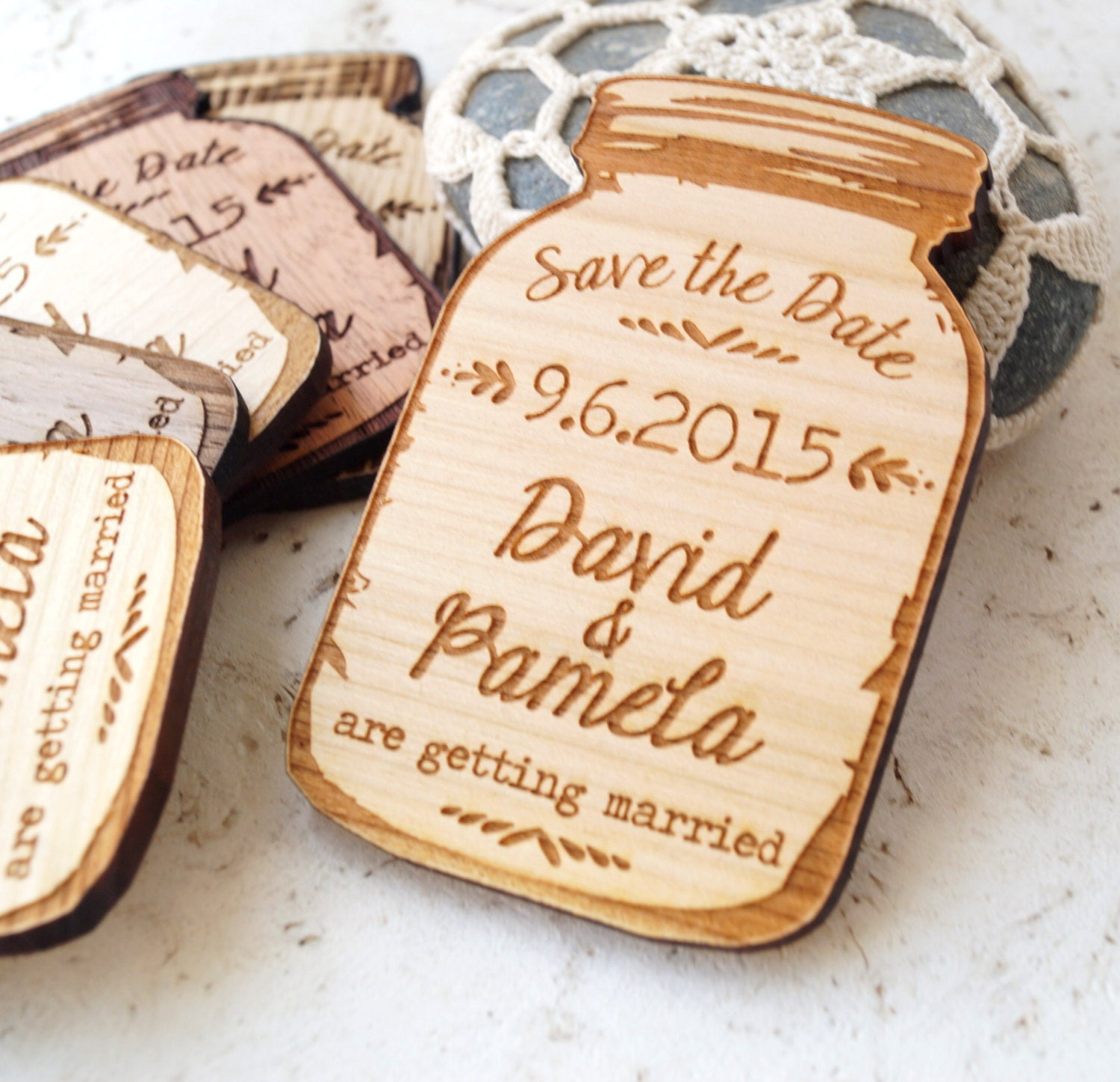 mason jar magnets save the date magnet rustic save the
