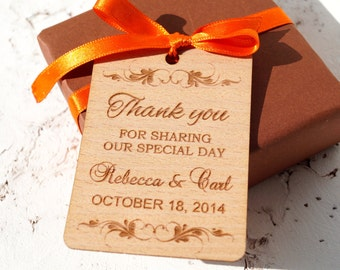 Wedding favor tags, personalized rustic favor tags, custom engraved wedding gift tags, wedding shower tag
