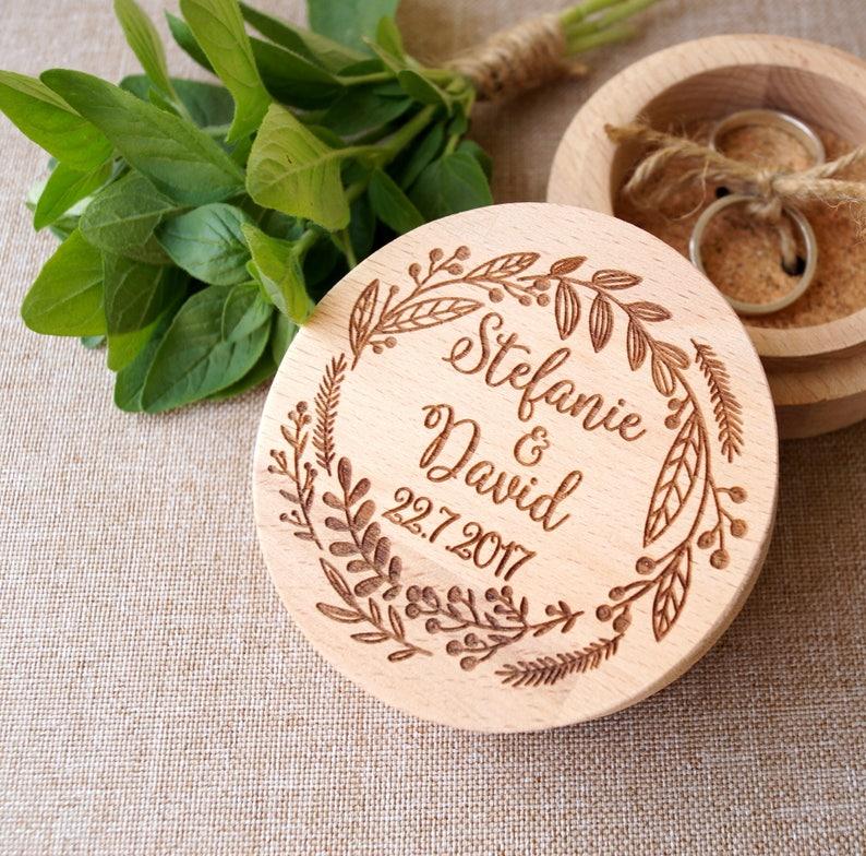Personalized ring box wooden ring box wedding ring box ring image 0