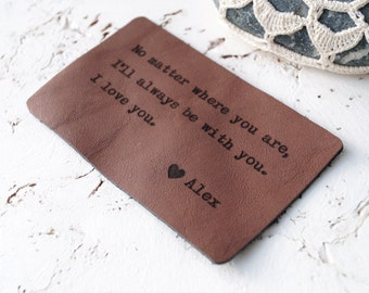 Leather Wallet Card, Custom Wallet Insert Card, Personalized Wallet Card, 3rd Leather Anniversary Gift, Mens Gift