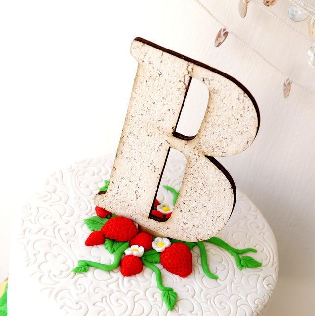 Rustic monogram cake topper - white cork topper - wedding cake topper - single letter topper - personalized cake topper - large cork letter
