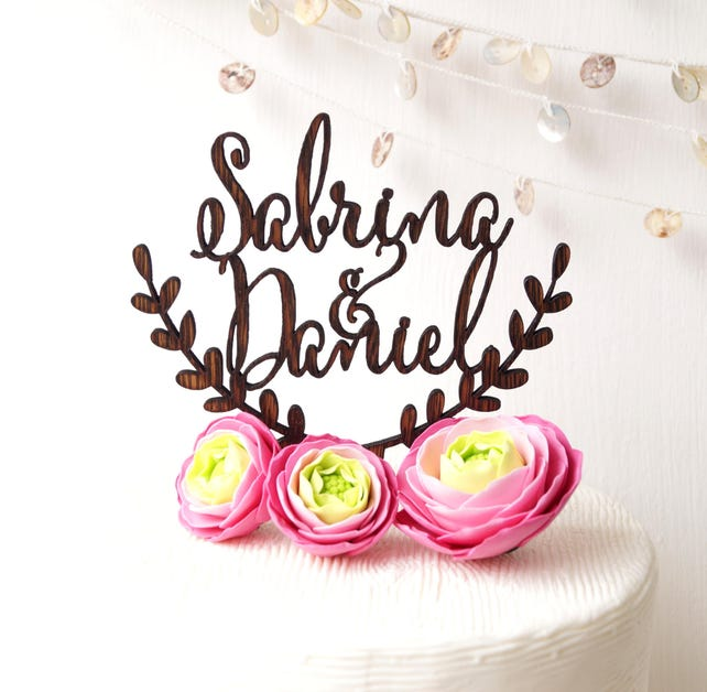 Wedding cake topper, personalized cake topper, custom laser cut cake topper, rustic wedding cake topper, names cake topper, YOUR wood choice