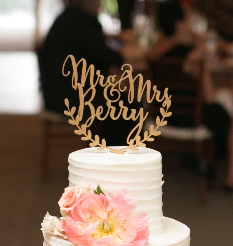 Custom wedding cake topper personalized cake topper rustic image 0
