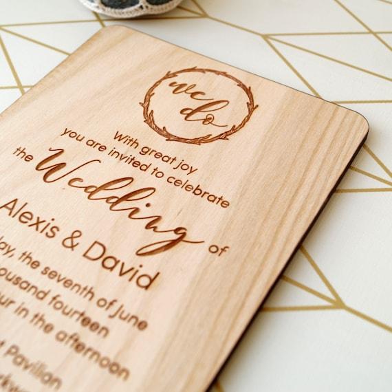 Houten Bruiloft Uitnodiging Rustieke Bruiloft Uitnodigingen Echt Hout Bruiloft Uitnodigingen Laser Gegraveerd Uitnodiging Uw Keuze Van Hout Set