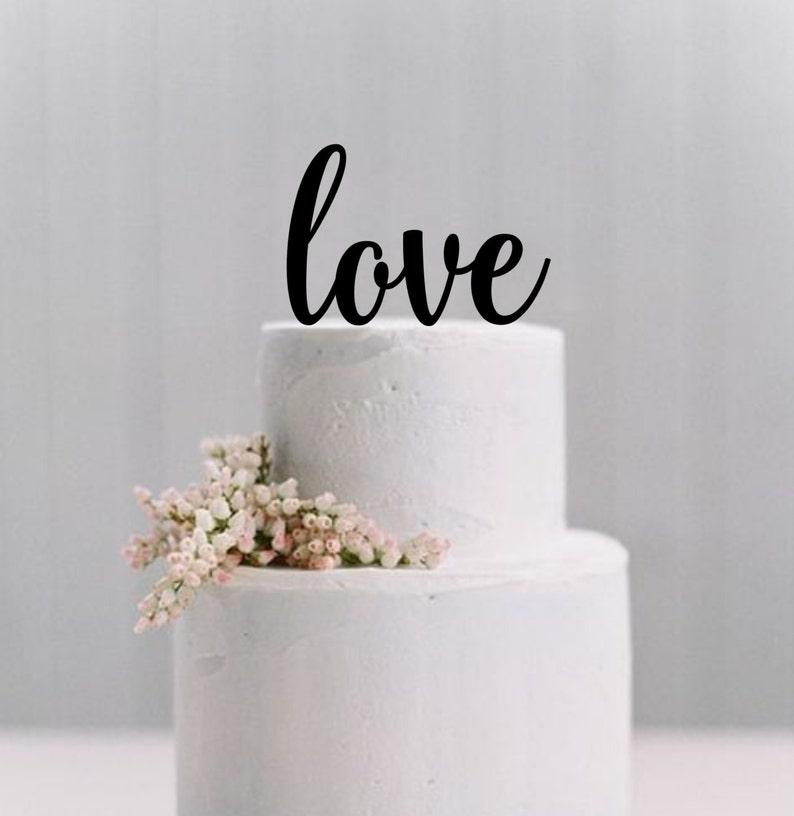 Wedding Cake Topper Love Simple Elegant