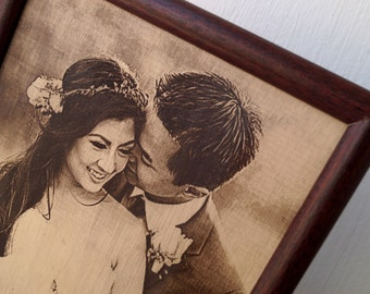 3rd wedding anniversary gift idea, custom engraved framed picture, leather engraving, unique gift.Engraved photograph on real leather,
