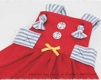 Nautical Dog Dress -XS,S.. Dog Dress, Pet Clothes, Nautical Dog Dress, Pet Clothing, Handmade Pet Clothes,Dog Apparel, Dog Outfit,Pet  Dress