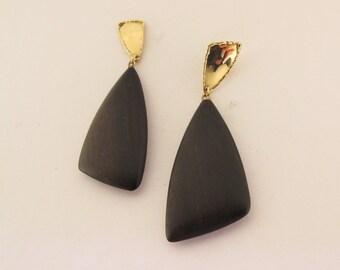 "Ebony earrings ""VELE"" - FREE shipping - ebony- gold- sails- gift for her"