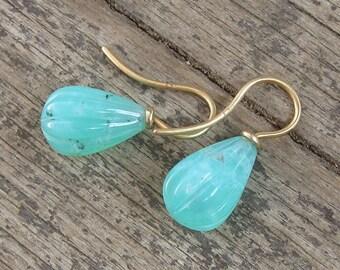 Chrysopras earrings in 750 gold