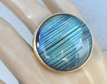 Labradorite Ring in Gold and Silver
