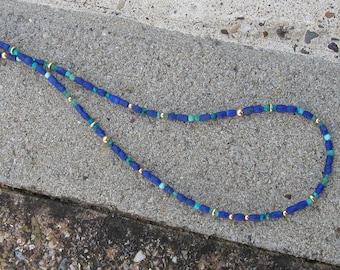 Lapislazuli Emerald Chrysocoll Turquoise Necklace with Gold