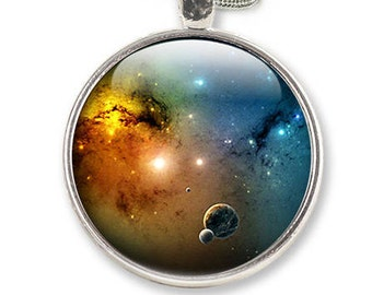 Space Necklace, Space Jewelry, Galaxy Glass Pendant - Necklace Universe solar system (NSE1)