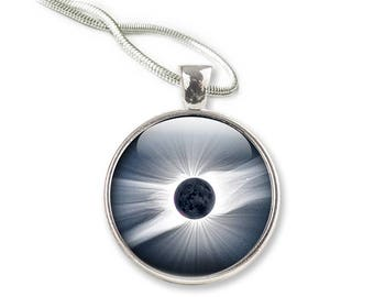 Solar Eclipse Necklace,  Glass Pendant Necklace, Space Picture Pendant with with Silver Chain Picture Necklace Photo Pendant (NSE1)
