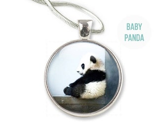 Panda Necklace - Photo Panda Necklace Panda Jewelry - Glass Panda Pendant (NP1)