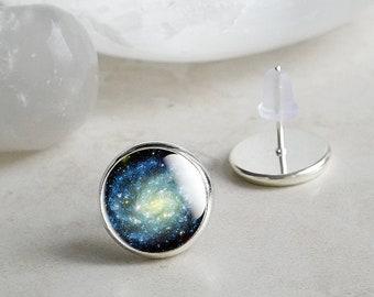 Galaxy Studs, Glass Galaxy Studs, Galaxy Stud Earrings, Silver Galaxy Jewelry, Silver Space Studs