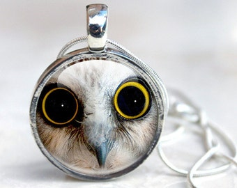 Owl Eye Necklace, Round Glass Pendant Charm, Cute Owl Jewelry Picture Necklace Photo Pendant