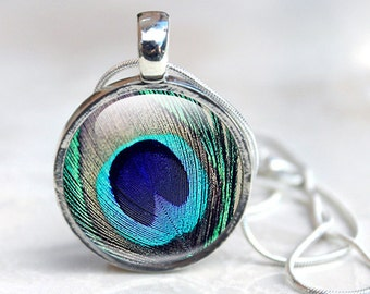 Peacock Necklace, Blue and Green Feather Necklace, Silver Necklace Photo Pendant, Peacock jewellery
