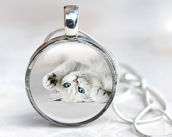 Cat Jewellery, cat necklace, cat pendant, animal jewellery, feline. gift for cat lover, gift for her, white cat blue eyes, jewellery