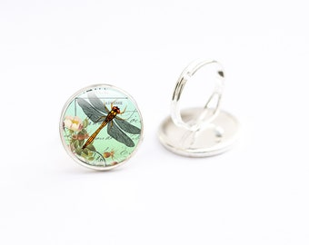 Dragonfly Ring - Dragonfly Picture Jewellery - Dragonfly Gifts (DRD4)