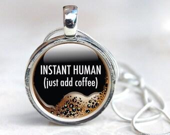 Coffee Necklace, Coffee Glass Pendant, Coffee Gifts, Coffee Pendant Necklace (coffee 5), Glass Pendant Necklace, jewellery