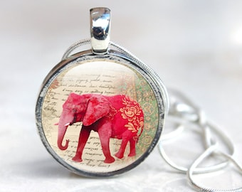 Elephant Necklace, Animal Photo Jewelry in a silver bezel and high glass dome, Red Elephant