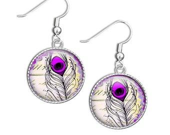 Peacock Earrings, Small Dangle Earrings Purple and Black Earrings, Peacock Jewelry, Peacock earrings, Small Drop Earrings