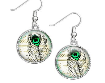 Peacock Feather Earrings, Peacock Jewelry, Peacock Earrings, Glass Drop Earrings, Bird Feather Earrings